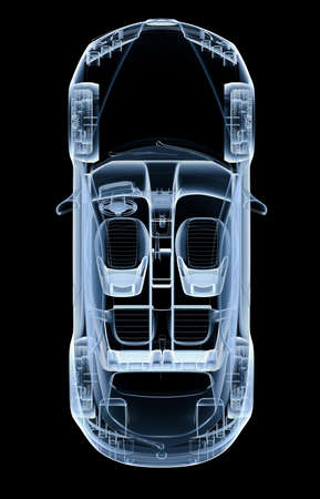 Top x-ray car on a black background