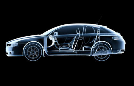 sportcar: Lateral x-ray car on a black background - 3D illustration Stock Photo