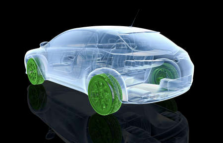sportcar: X-ray car with green wheels on a black background - 3D illustration Stock Photo
