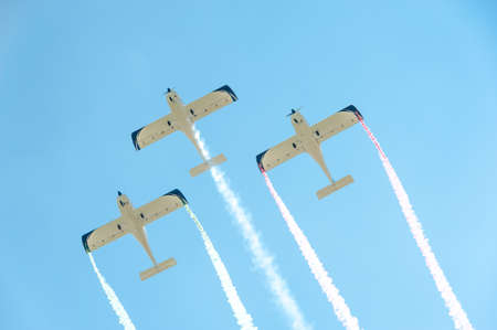 Three airplanes on airshow in formation Editorial
