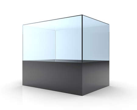 expansive: 3D illustration of empty glass showcase on a white background
