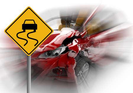 accidente de coche rojo con el signo de peligro amarillo delante: Ilustración 3D