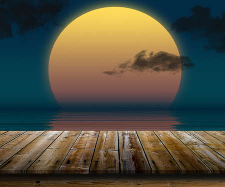 calm down: Illustration of top of wooden table at sunset