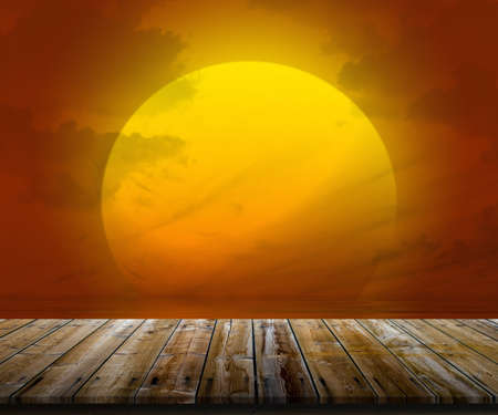 farsighted: Illustration of top of wooden table at sunset