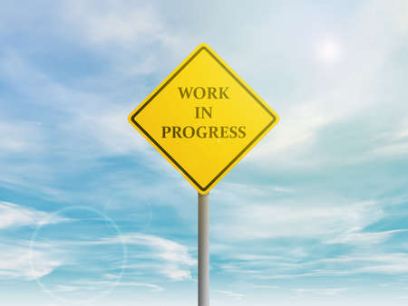 in the reconstruction: Illustration of work in progress yellow sign in the sky Stock Photo