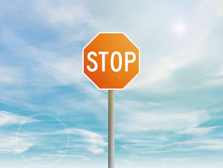 red sky: Illustration of a red stop street sign in the sky
