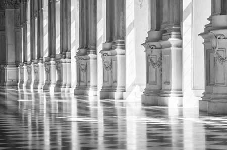 reale: Black and white gallery in a beautiful palace with sunlight Stock Photo