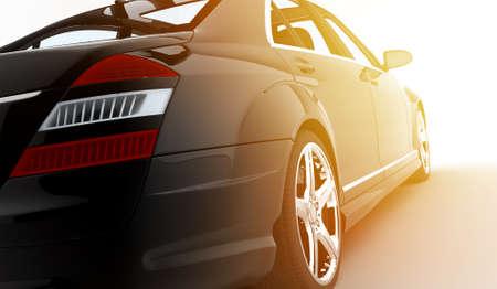 A modern and elegant black car in the sunset: 3D illustration