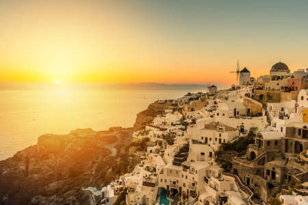 Sunset over Oia village in Santorini - Greece