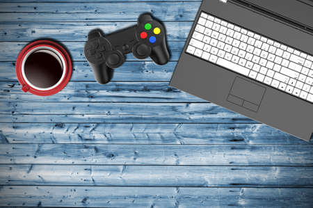 joypad: Table top view of a gamer with notebook,  joypad and cup of coffee. 3D Illustration