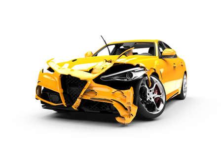 cautious: Yellow car crash on a white background isolated on a white background Stock Photo