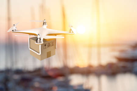 Drone flying with a delivery box package in an harbour: 3D rendering Stock Photo
