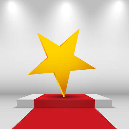 Illuminated festive stage podium scene with red carpet and star. vector background