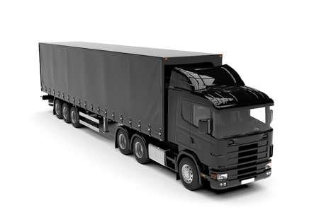 흰색 배경에 고립 된 검은 큰 트럭 : 3D 일러스트 레이션