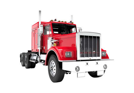 Red truck isolated on a white background: 3D illustration