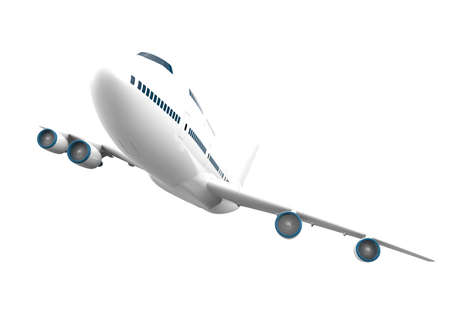 Big airplane isolated on a white background: 3D illustration