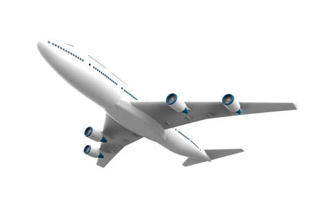 Airplane isolated on a white background: 3D illustration