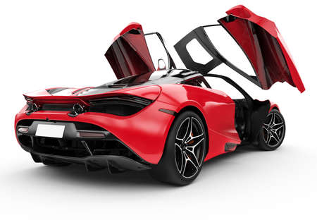 Red modern sport car with oper doors: 3D illustration