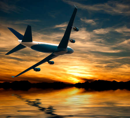 Airplane flying over water in the sunset: 3D illustration Stock Photo