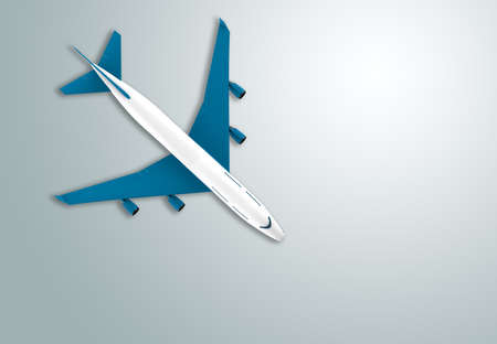 Blue and white airplane isolated: 3D illustration
