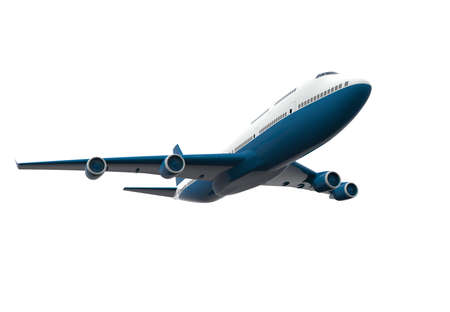 Blue and white airplane isolated on a white background: 3D illustration