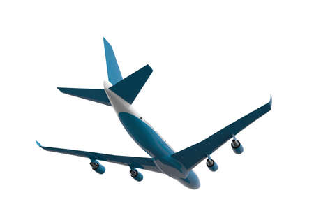 Back of a blue and white airplane isolated on a white background: 3D illustration