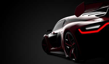 Back of a red modern sport car: 3D illustration Stockfoto