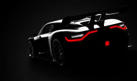 Black modern sport car: 3D illustration 스톡 콘텐츠