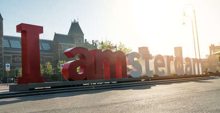The I Amsterdam sign in front of the Rijksmuseum in Amsterdam, Netherlands
