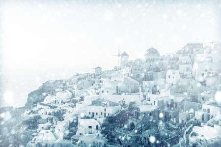View of Oia, Santorini with snow