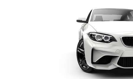 Vooraanzicht van een generieke en merkloze moder-auto op een witte 3d illustratie als achtergrond