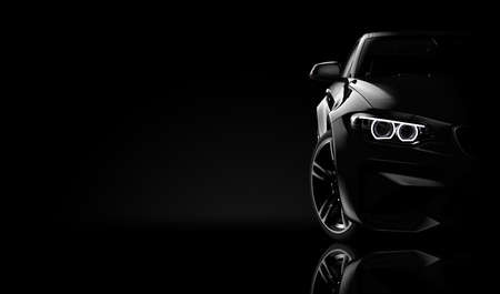 Front view of a generic and brandless moder car on a black background: 3d illustration Standard-Bild