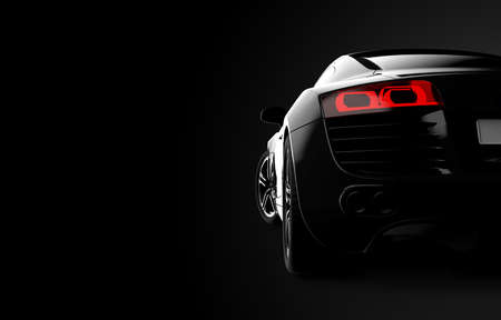 Back view of a generic and brandless modern car on a black background. 3d illustration