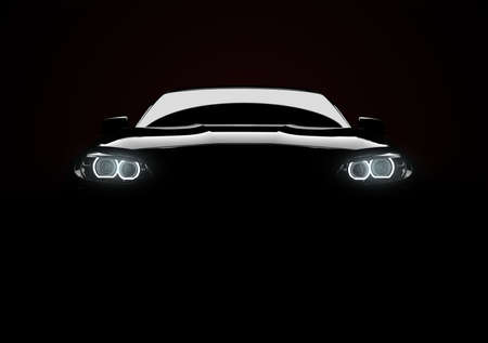 Front view of a generic and brandless modern car with lights on a black background. 3D illustration Imagens