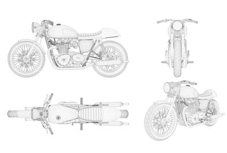 Wireframe generic and brandless motorbike in four view, 3D illustration