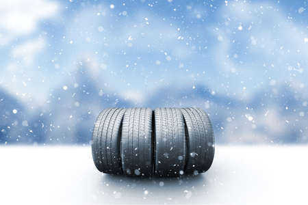 Four car tires on a snow covered road, 3d illustration Zdjęcie Seryjne - 121496377