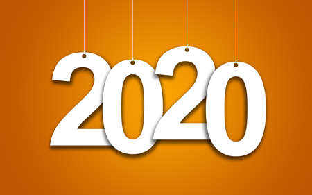 New Year 2020 on an orange background: 3D illustration Banco de Imagens
