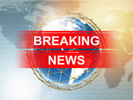 Breaking News with planet on a luminous background: 3D illustration