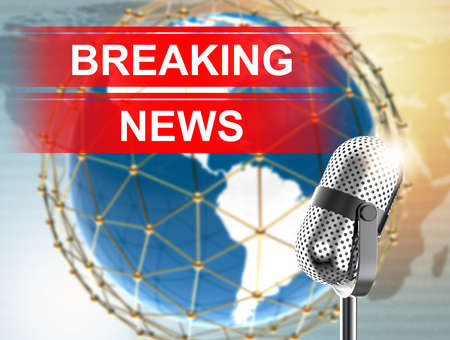 Breaking News with microphone: 3D illustration