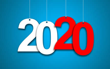 New Year 2020 on a blue background: 3D illustration Banco de Imagens - 121496479