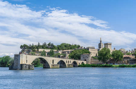 Avignon Bridge with Popes Palace and Rhone river, Pont Saint-Benezet, Provence, France