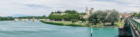 Panoramic view of Saint Benezet bridge in Avignon, France