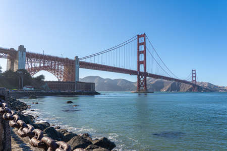 Beautiful view of Golden Gate bridge from Presidio Banco de Imagens