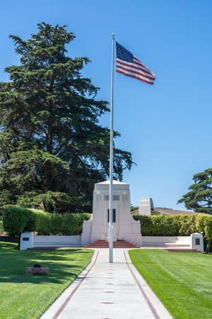 USA flag at the Golden Gate National Cemetery in the Presidio