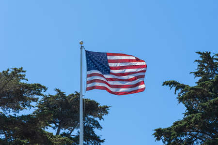 USA flag in the wind Banco de Imagens