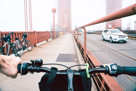View from a bicycle on Golden Gate Bridge in San Francisco Banco de Imagens