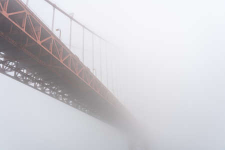 View of the iconic Golden Gate Bridge in the fog, San Francisco