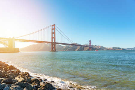 View of Golden Gate Bridge at sunlight