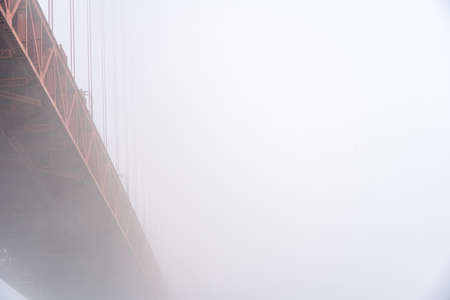 View of Golden Gate Bridge in the fog