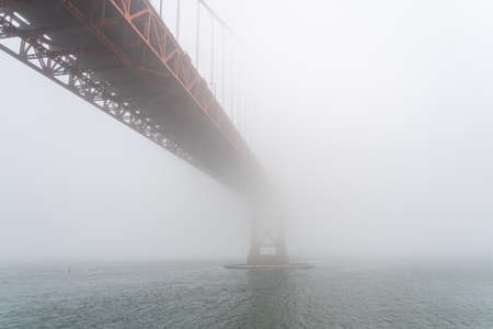 View of the iconic Golden Gate Bridge in the fog